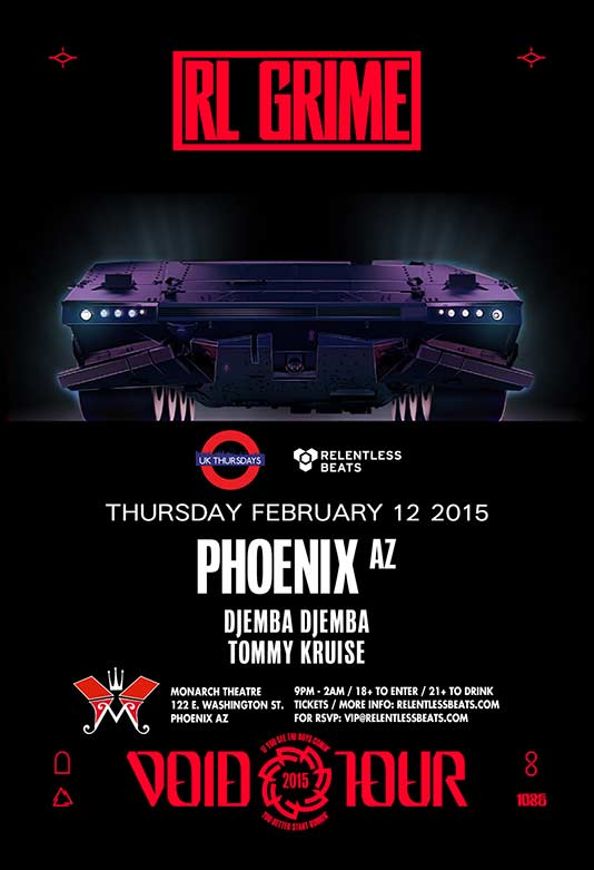 RL Grime, Djemba Djemba, Tommy Kruise @ Monarch Theatre - Void Tour on 02/12/15