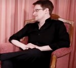 Jean-Michel Jarre, left, and Edward Snowden. (Screenshot)