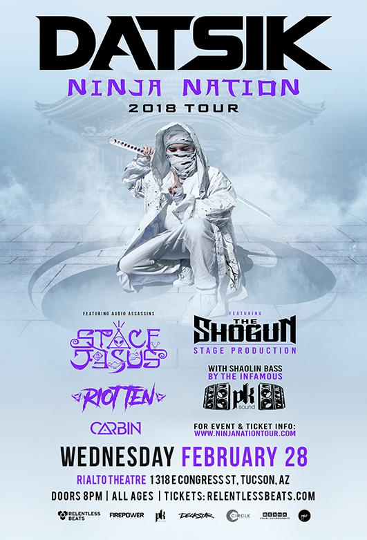 Flyer for Datsik Presents: Ninja Nation Tour 2018 - Tucson