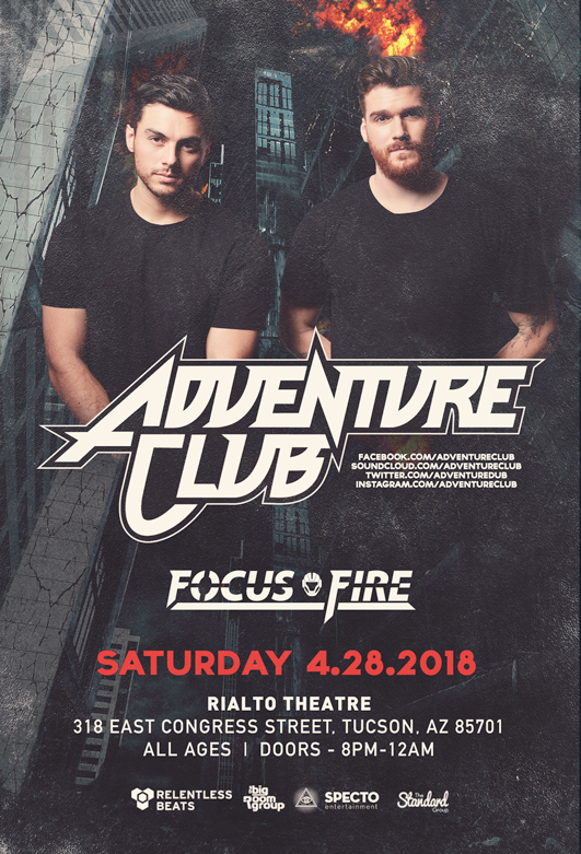 Flyer for Adventure Club + Focus Fire