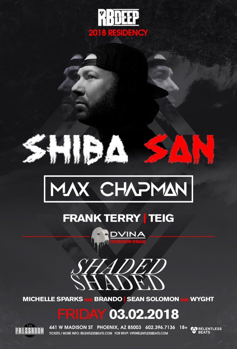 Flyer for Shiba San, Max Chapman, & Shaded