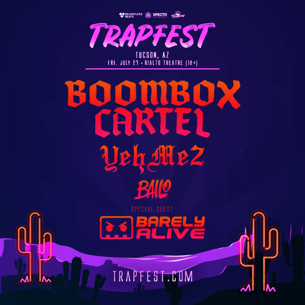 Flyer for Trapfest Tucson 2018