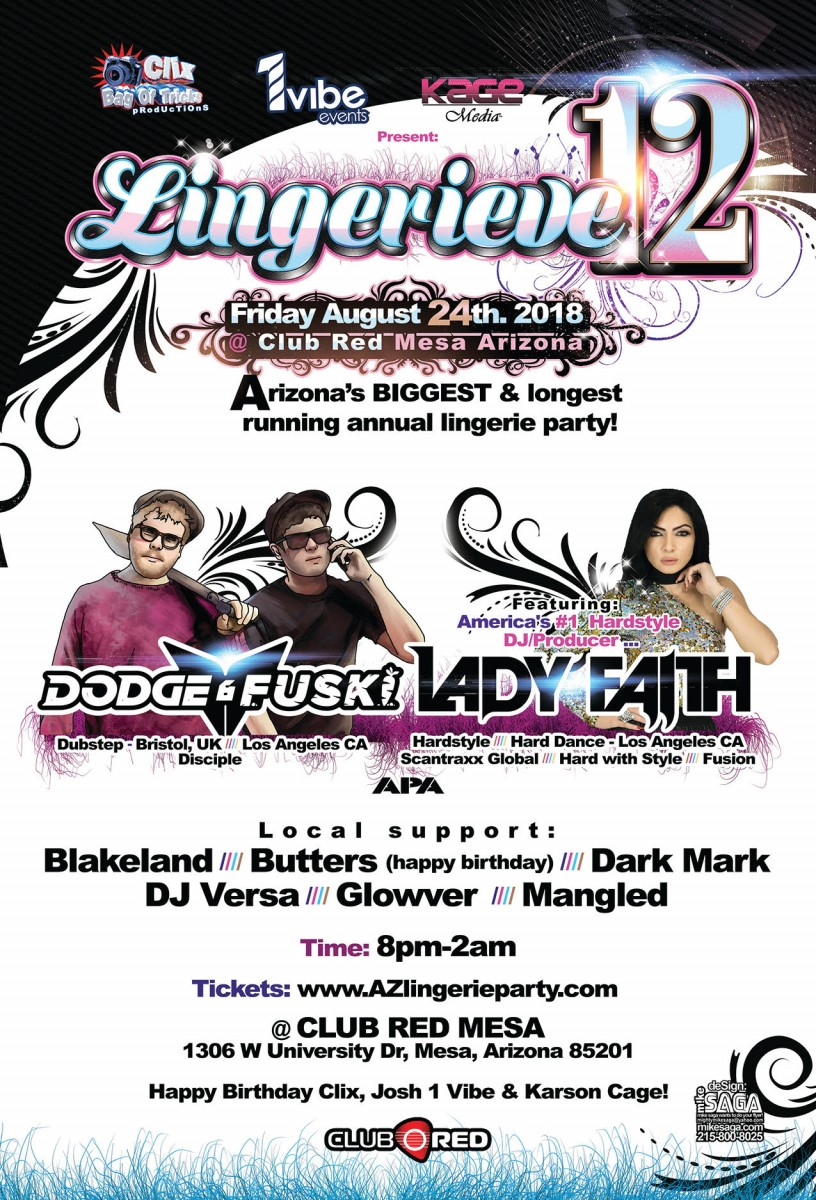 Flyer for Lingerieve 12 featuring Dodge & Fuksi and Lady Faith