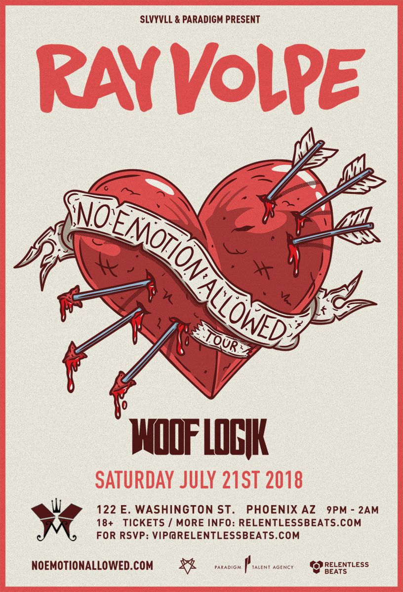 Flyer for Ray Volpe + Woof Logik