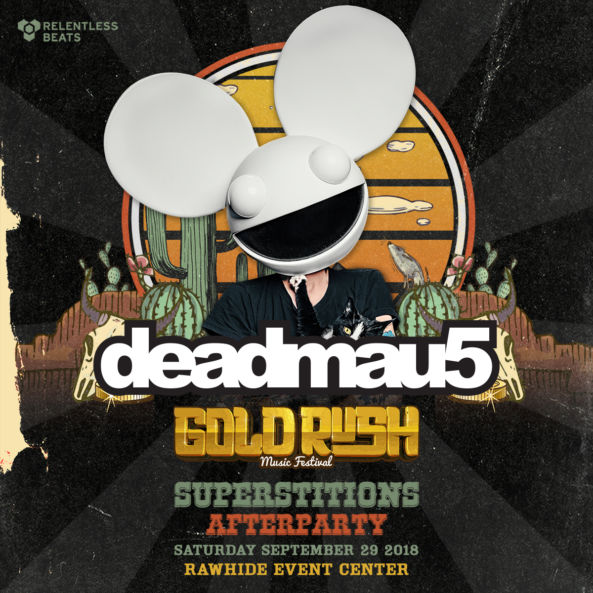 Flyer for Deadmau5 - Goldrush 2018 Superstitions Afterparty (Day 1)