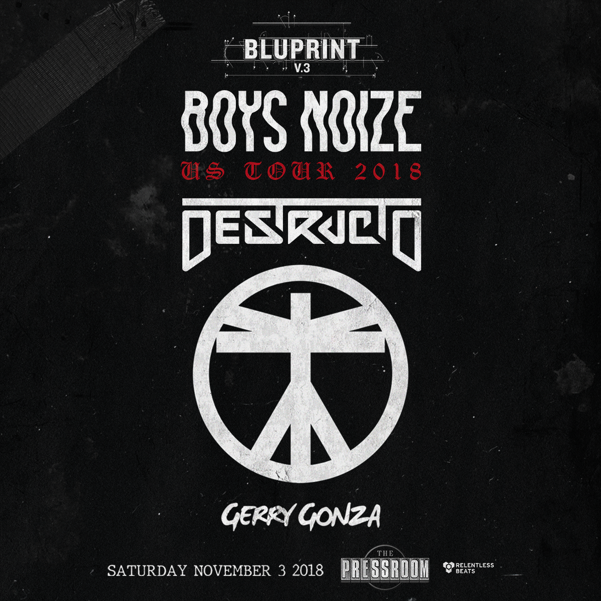 Flyer for Boys Noize, Destructo & Gerry Gonza