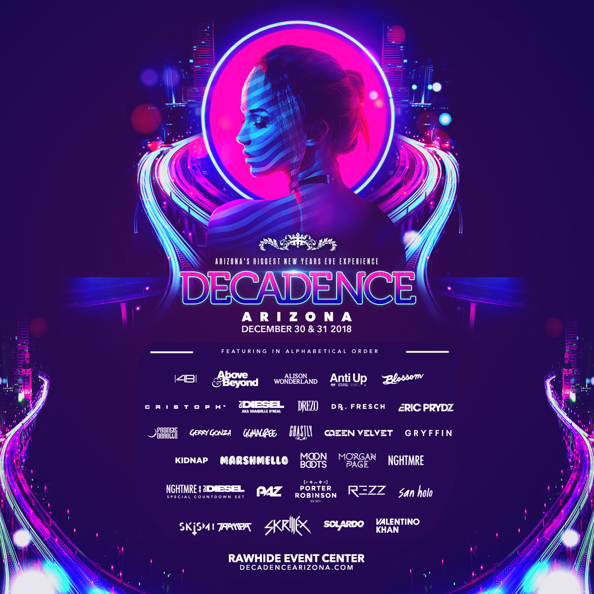 Flyer for Decadence Arizona 2018