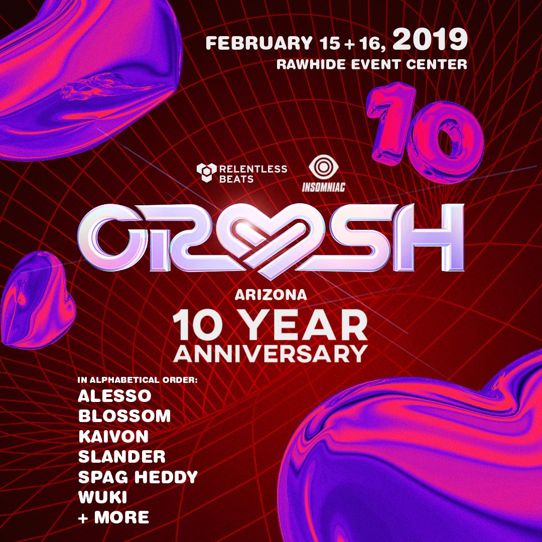 Flyer for Crush Arizona 2019 - 10 Year Anniversary