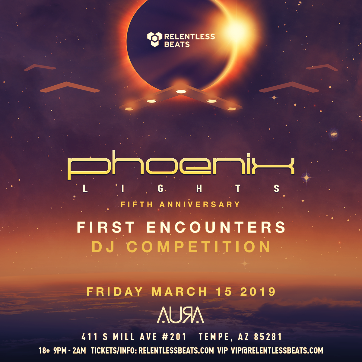 Flyer for Phoenix Lights Presents First Encounters DJ Competition