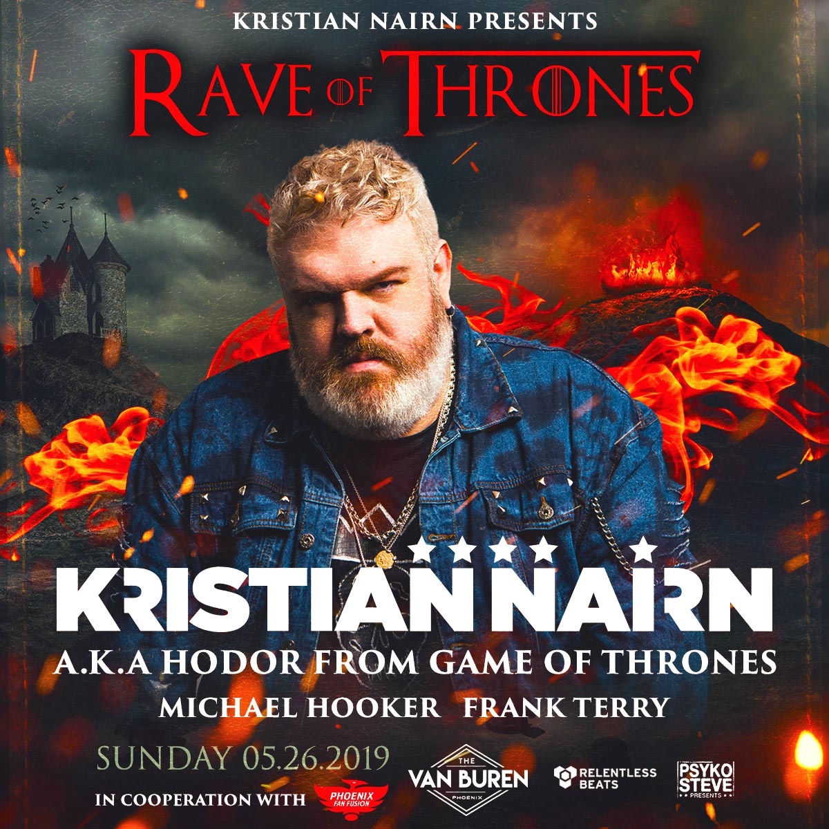 Flyer for Kristian Nairn presents Rave of Thrones