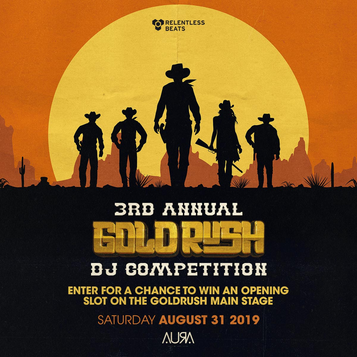 Flyer for 3rd Annual Goldrush DJ Competition