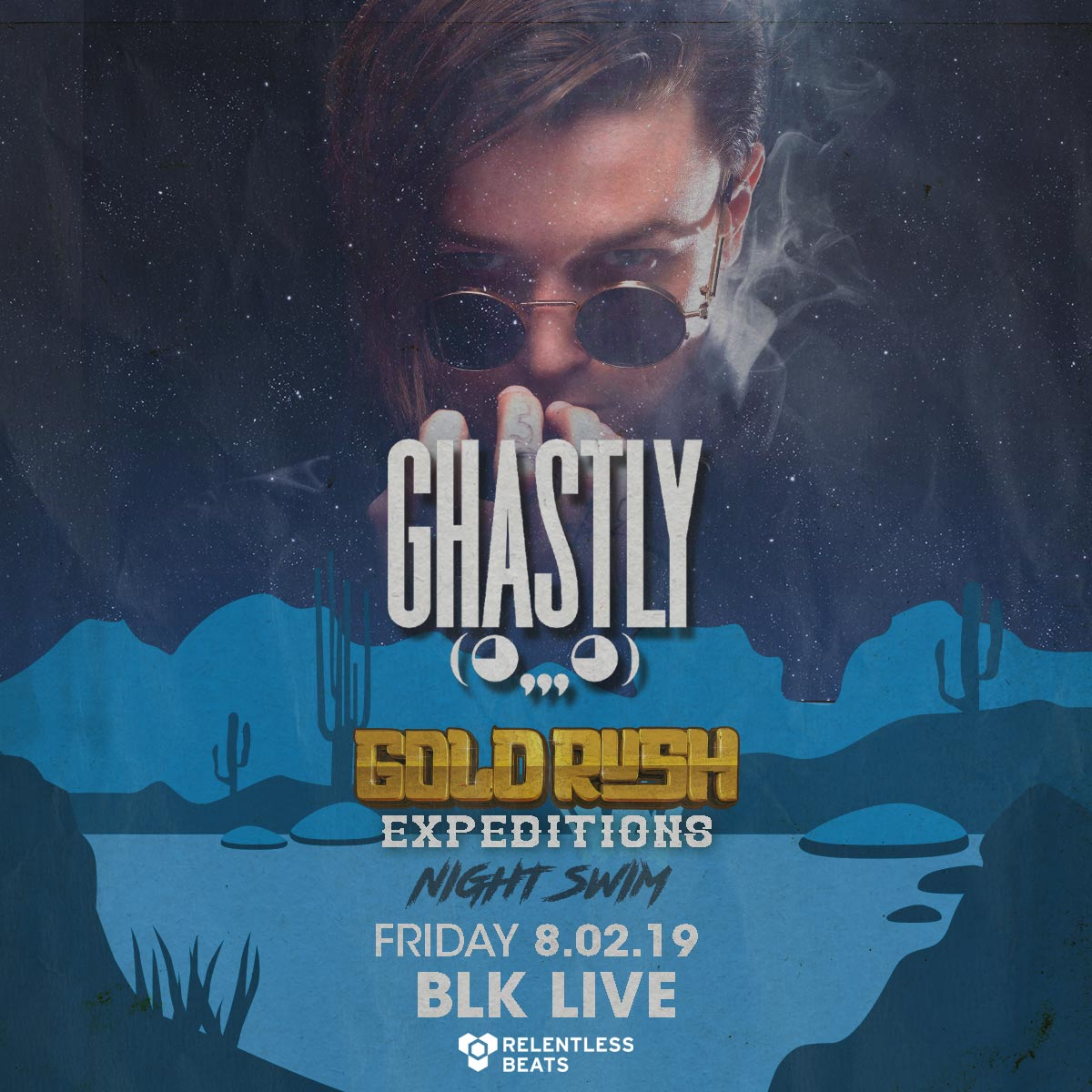 Flyer for Ghastly - Goldrush Expeditions Night Swim