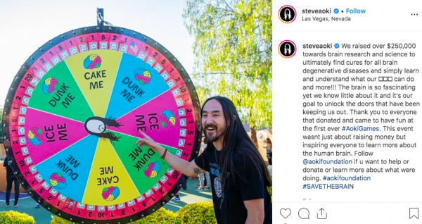Aoki revealing on his instagram the success of his first ever 'Aoki Olympics'