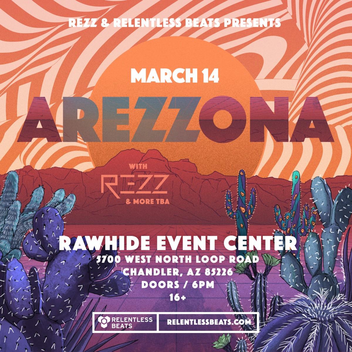 Flyer for AREZZONA Ft. REZZ
