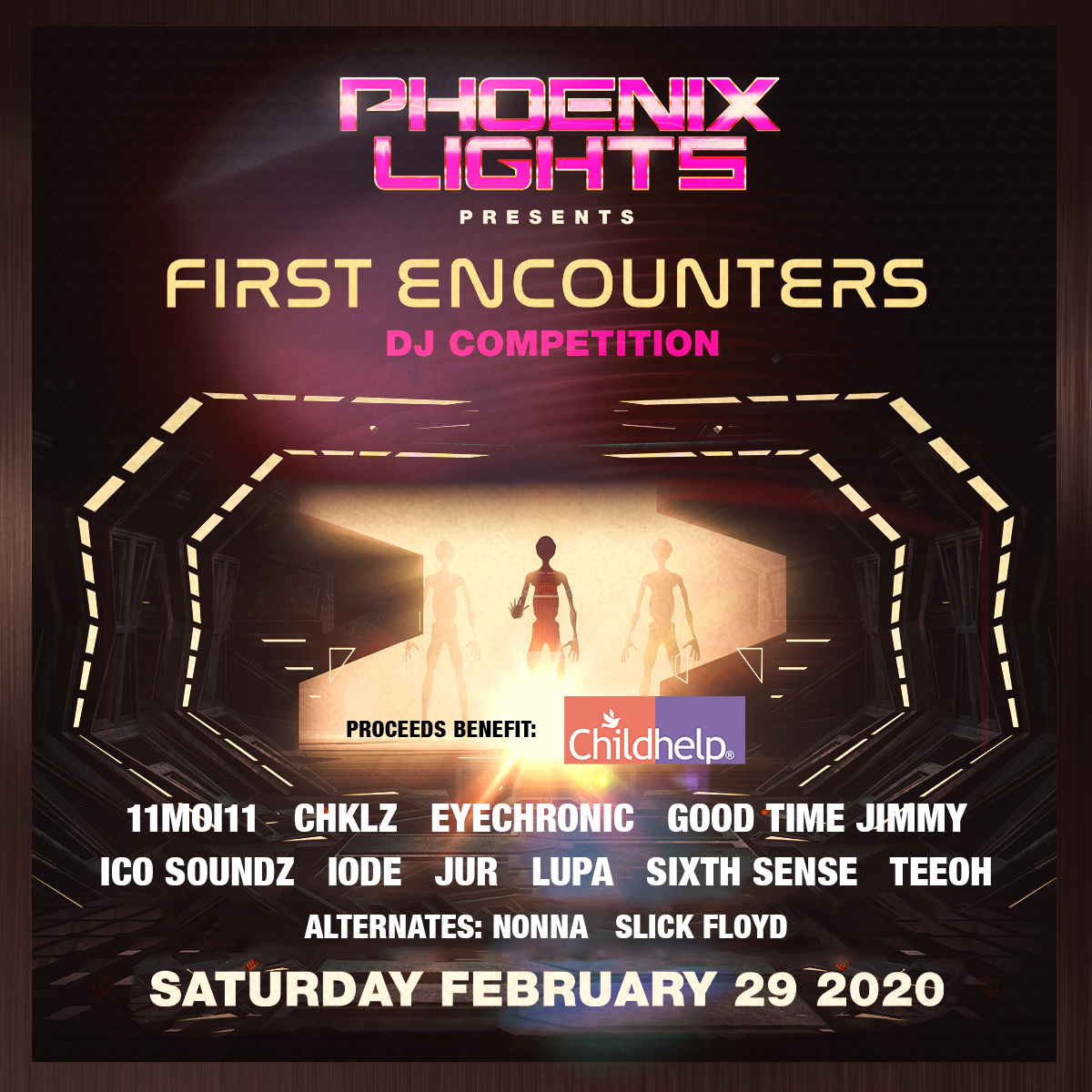 Flyer for 4th Annual Phoenix Lights First Encounters DJ Competition