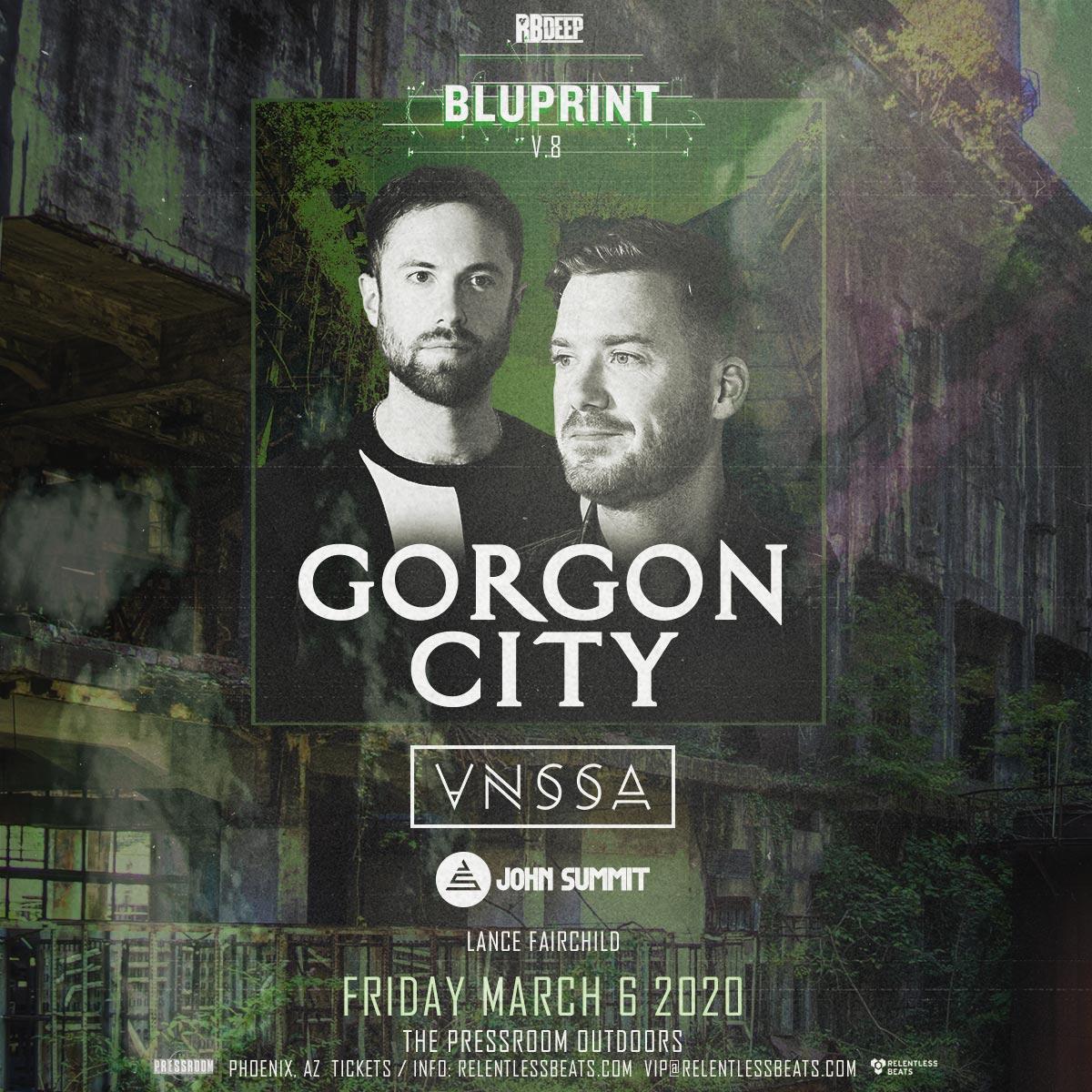 Flyer for Gorgon City, VNSSA, & John Summit @ Bluprint v.8