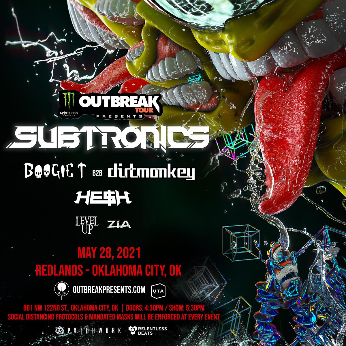 Flyer for Subtronics: Oklahoma City Monster Energy Outbreak Tour 2021