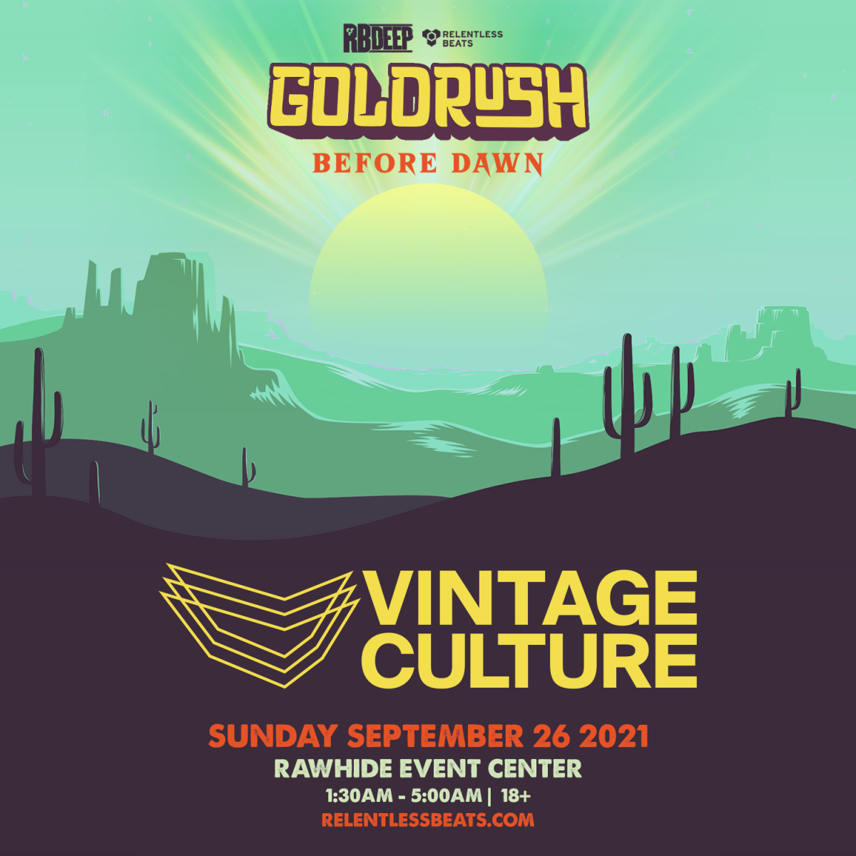 Flyer for Vintage Culture | Goldrush Day 3 Afterparty