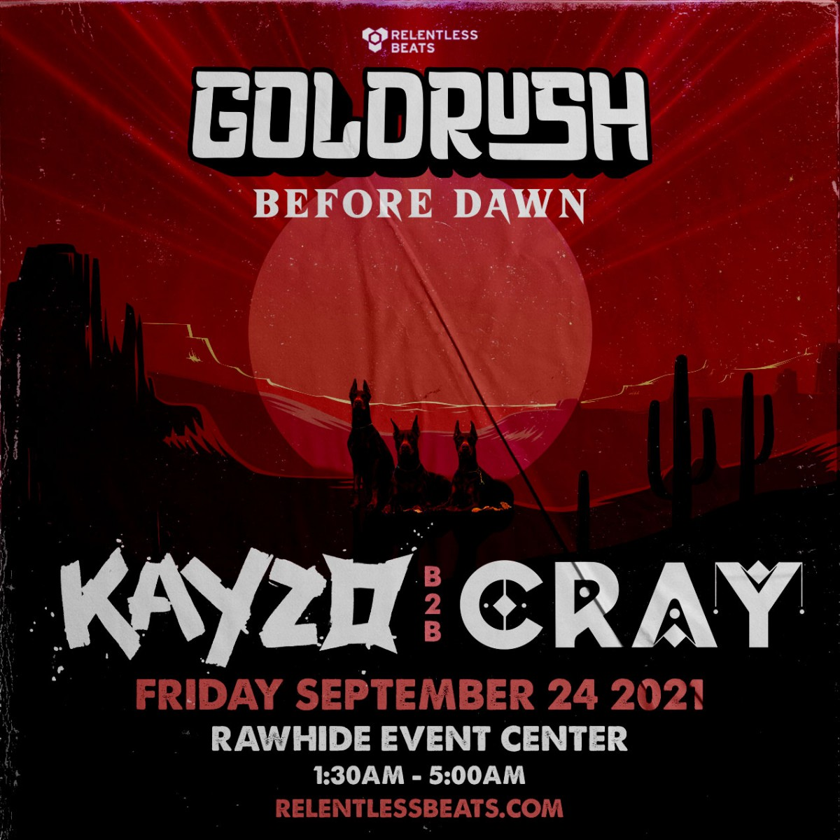 Flyer for Kayzo b2b Cray   Goldrush Day 1 Afterparty